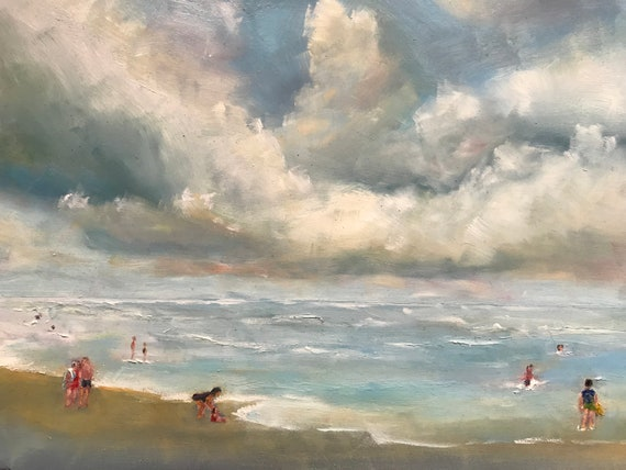 Lake art, sky painting, Beach Art, Ocean Seascape Painting, cloudy decor, Vacation Painting, Beach painting