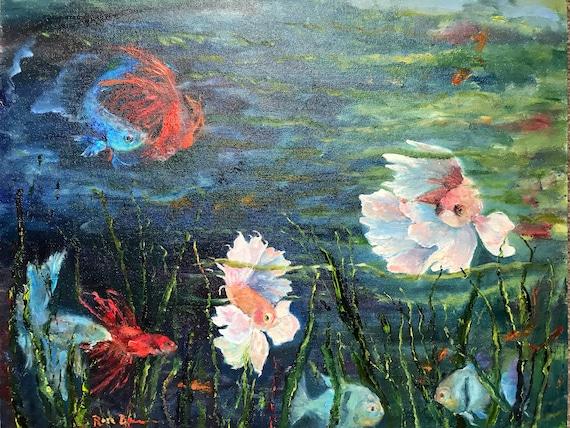 XLPainting, Fish Painting, Deep Blue Sea, Ocean Painting, Ying Yang