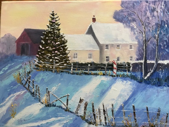 Winter painting, Farmhouse, Coming Home, Oil Painting, Snow Scene, Winter art