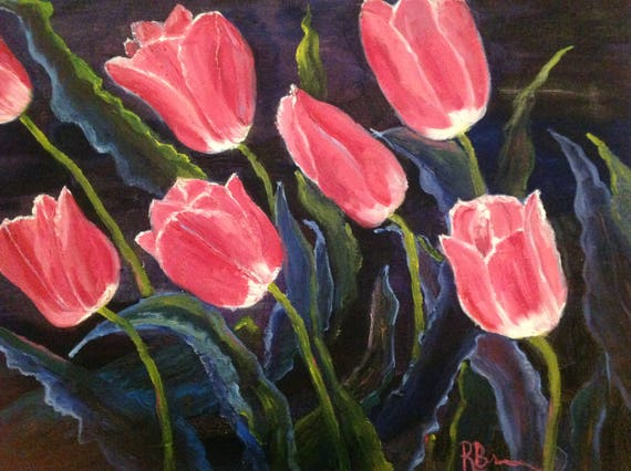 Large Flower Painting, Pink Flowers, Tulips, Large Oil Painting, Spring Painting, Flower Painting, Gifts for Her