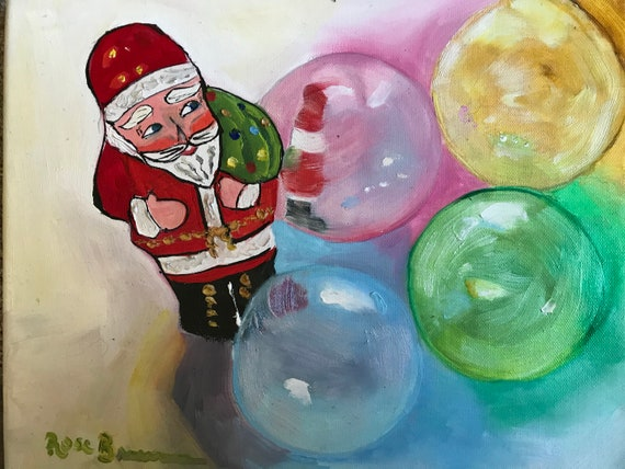 Santa painting, Christmas ornaments, Christmas painting, rainbow colors