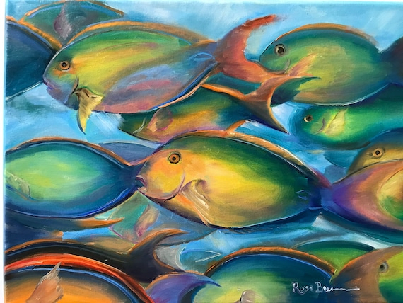 Fish Painting, fish bowl, tropical fish, Oil Painting, Gifts for Dad, teal blue decor