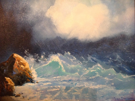 Ocean Painting, Stormy Ocean, Beach Art, Seascape, Ocean Painting