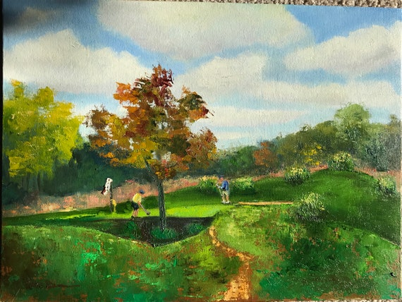 Golf Painting, Plein air painting, Oil Painting, Gifts for Men,  Golf course painting