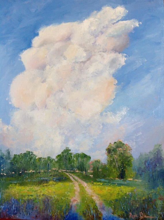 Sky Painting, Rustic Field Scene, Cloud Art, Large Painting