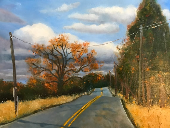 Country painting, farmland, rural scene, road, street scene nocturne,