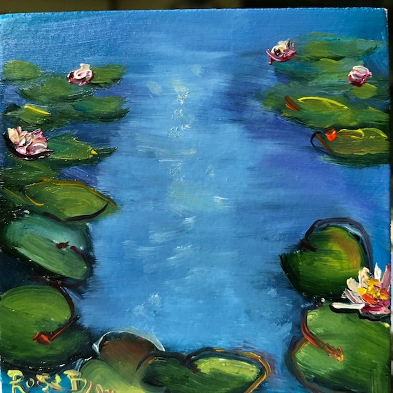 Lily Pond, Miniatures, Monet Lily Pond, Small Art, Tiny painting