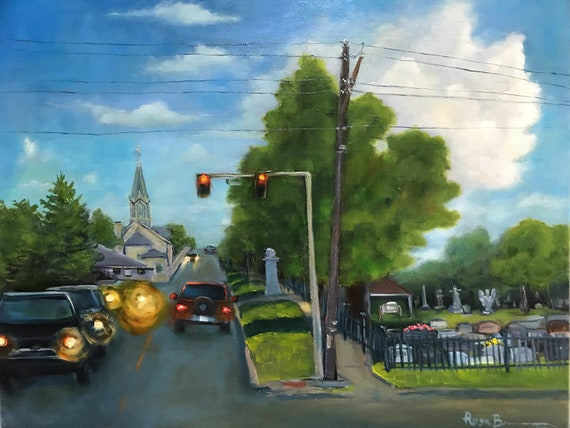 Cityscape painting, city scene, street scene, car painting, street art, graveyard,