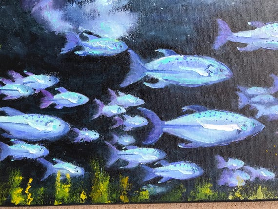 Fish, Fish Painting, Seascape, Neon Fish, Oil Painting, water art