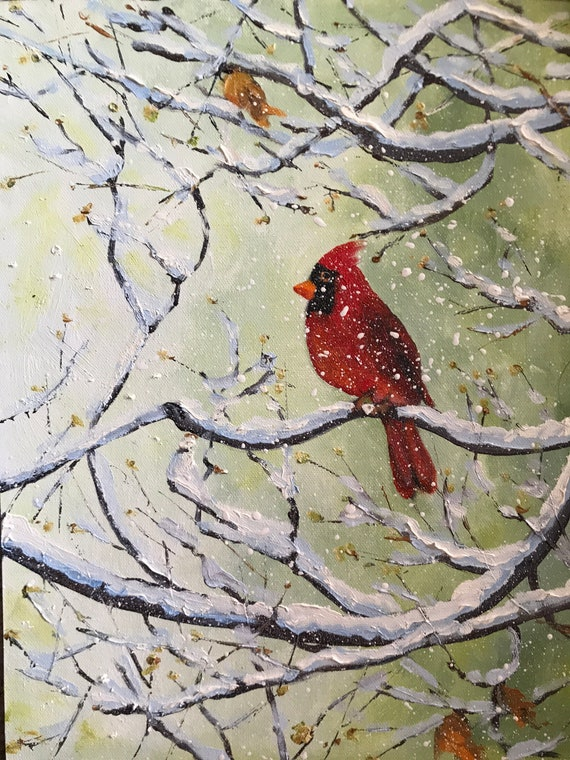 Bird Painting, Cardinal, Spring Art, Tree Painting, snow painting