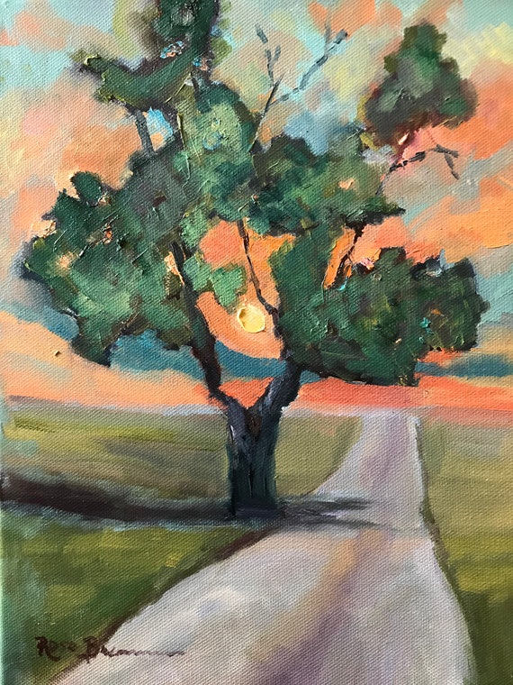 tree painting, Indiana landscape painting, Sunset painting