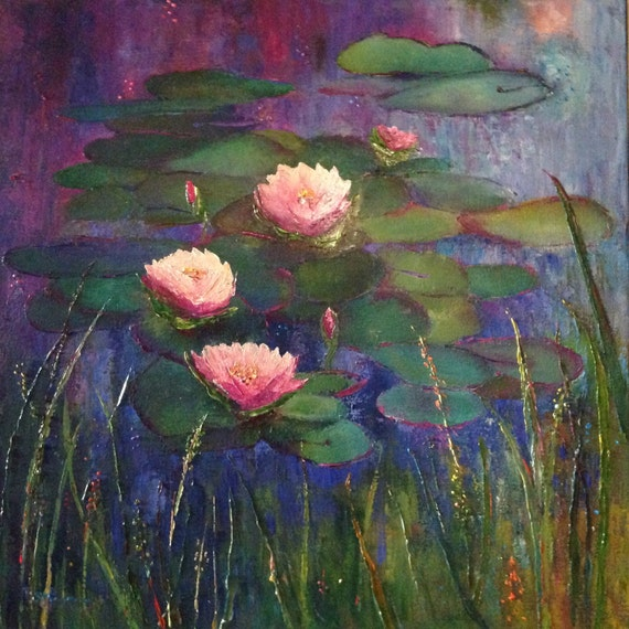 Extra Large Painting, Monet style, Lily Pond, Waterscape, Monet's Garden, Lily Pad Flowers