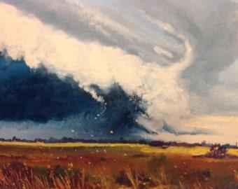 Tornado Art, Storm Clouds, Big Sky Painting, Storm Rain Art