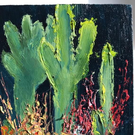 desert painting, cactus painting, Miniatures, Small Art