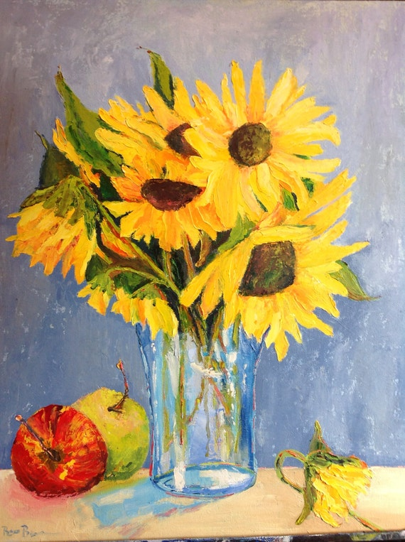 Sunflowers, Flower Lover Art, Still Life Painting, Interior Decor, Van Gogh sunflowers