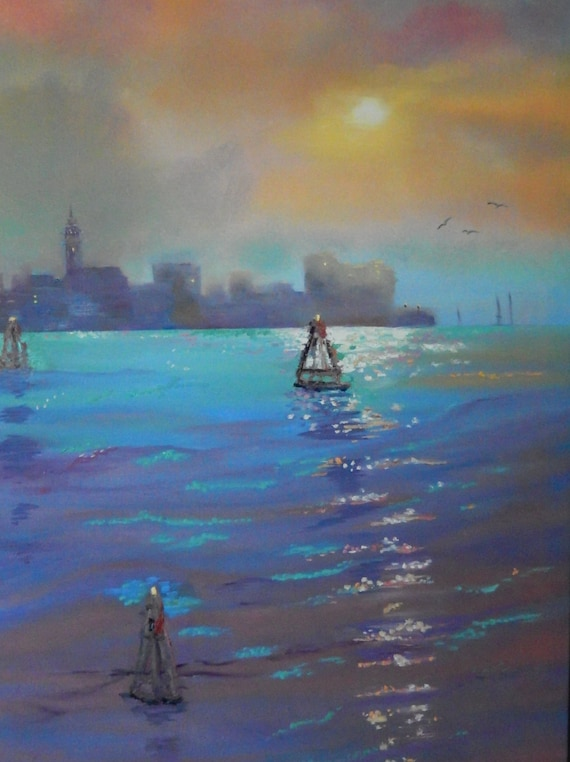 Venice Painting, Extra Large Painting, Vacation Art, Seascape Painting, Ocean Painting
