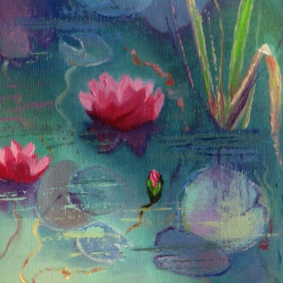 Water Lilies Art, Original Oil Painting, Tiny Still Life, Small Art Water Lilies