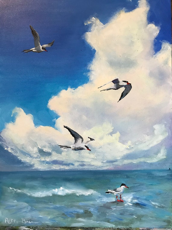 Bird painting, ocean painting, oil painting, waterscape, seagulls, big sky painting