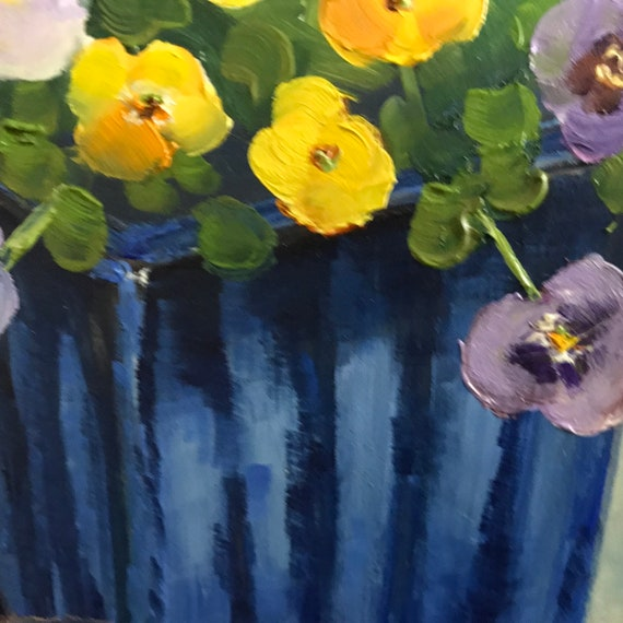 Spring Flowers, Small Painting, Landscape Painting, Flower Painting, Pansies, still life