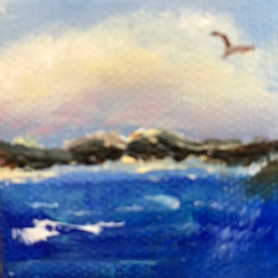 Ocean Painting, Miniatures, Small art, ocean painting, Landscape Painting