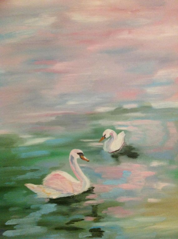 Swan Painting, Landscape painting, bird painting, water painting, A Pair of Swans