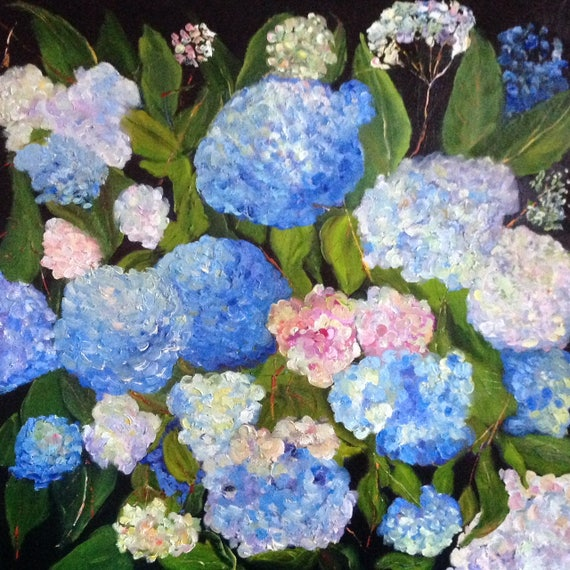 Extra Large Painting, Flower Painting, Blue Hydrangeas, Summer flowers