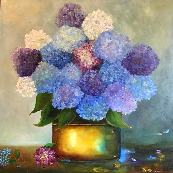 Flower Painting, Extra Large Painting, Oil canvas painting, hydrangeas, blue flowers, purple flowers