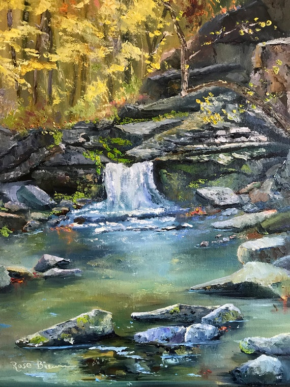 Waterfall Painting, Water painting, Indiana painting, landscape painting, large canvas art