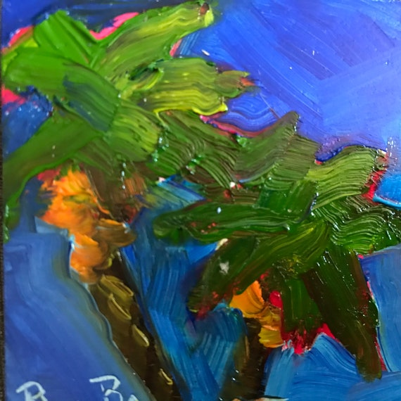 Palm trees, tropical painting, desert painting, Miniatures, Small Art