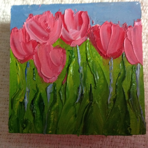 Miniature, Spring Pink Tulips, Monet Style Art, Small Art, Tiny painting