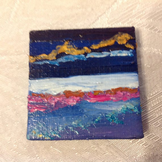 Painting with Easel, Landscape Painting, Mini, Small Art