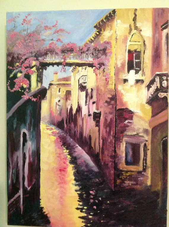 Venice Canal Art, Landscape Painting, Vacation Painting, Italian painting