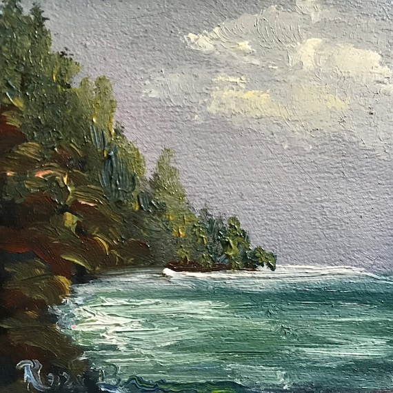 Gray sky Painting, Mini Painting with Easel, Tiny Art, Landscape Painting, Miniatures