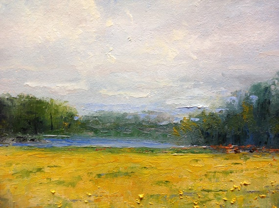Landscape, Mustard Field, Plein Air Art Painting,  Farm painting, Rustic, Midwestern Scene