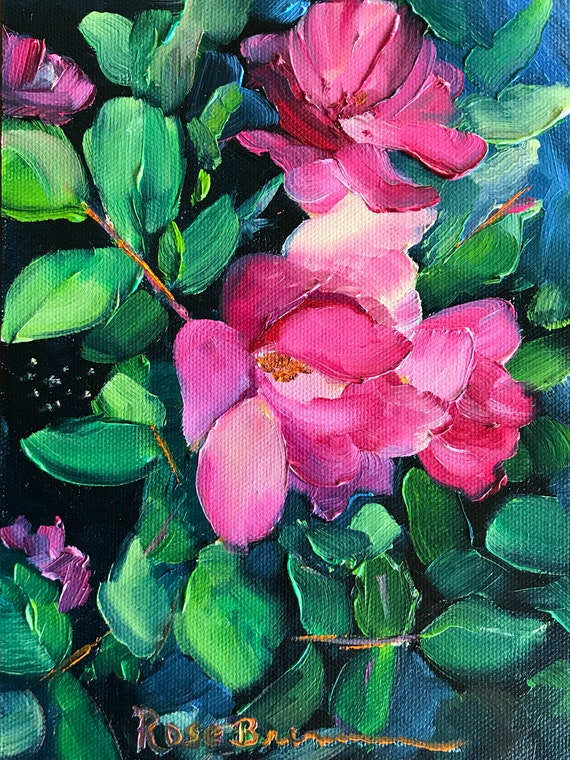 Pink flowers, small painting, secret Santa gift, office gift, pink roses