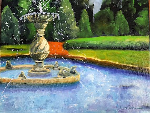 Fountain painting, French Lick resort, west Baden fountain, Indiana landmark, Summer Landscape, Indiana Landscape