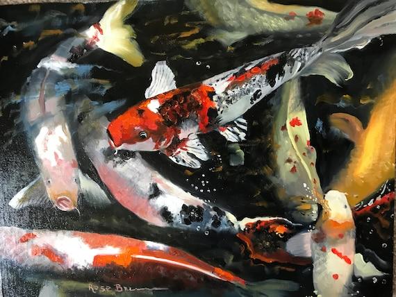 Koi painting, fish painting, goldfish, canvas panel painting