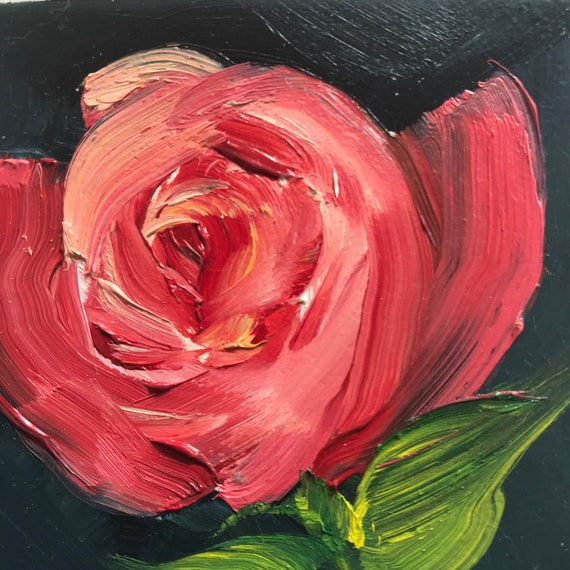 Rose Painting, Small gift ideas, Miniatures, Small Art, Tiny painting