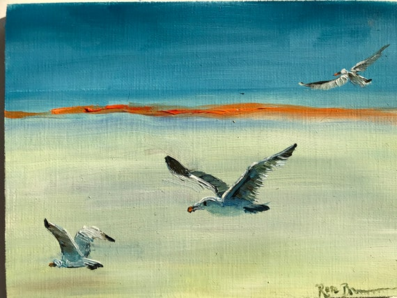 Bird painting, Miniatures, seagulls, small painting, Small Art, Tiny painting