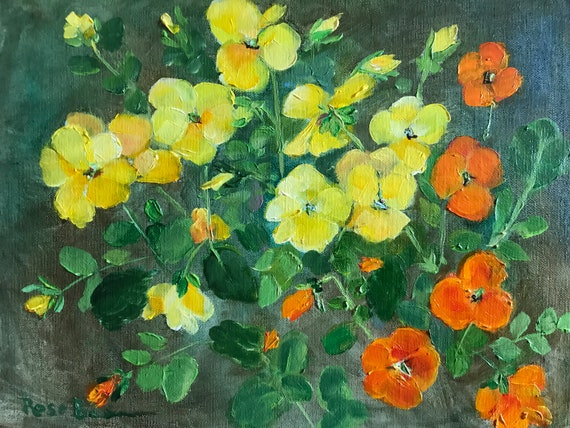 Pansy painting, yellow flower, flower painting, spring flowers, orange flowers, porch flowers