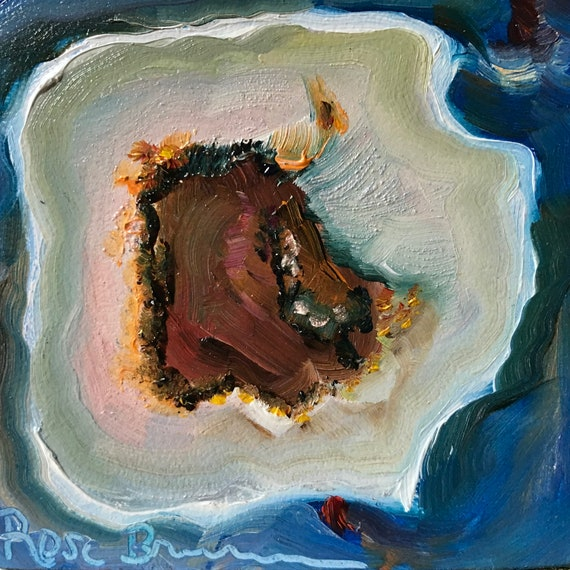 Geode, Brown Agate Geode, Miniatures, Small Art, Tiny painting