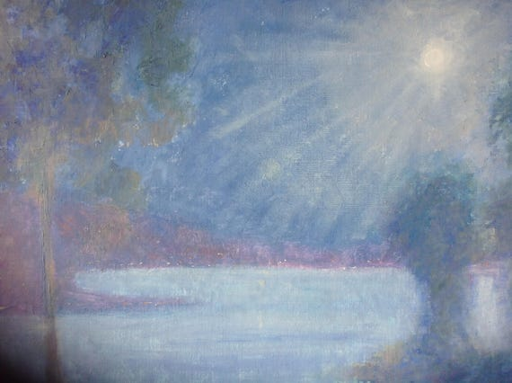 XLPainting, Dreamy Night Scene, Moonlight Painting, Blue Purple Landscape Painting