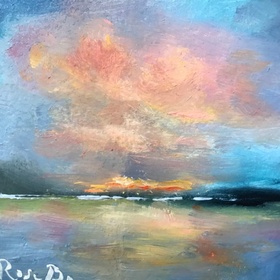 Sunset Painting, Miniatures, big sky painting, Small Art, Tiny painting