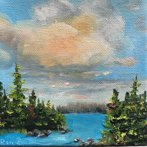 Sky Painting, Cloud Painting, Lake Scenery, Small Oil Painting, Lake Painting, Country Rustic Art