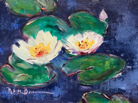 Water lilies, Lily Pond Painting, Monet style Painting, Mini painting