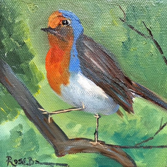 Bird Painting, Robin Painting, Canvas painting, Small Oil Painting, Country Rustic Art