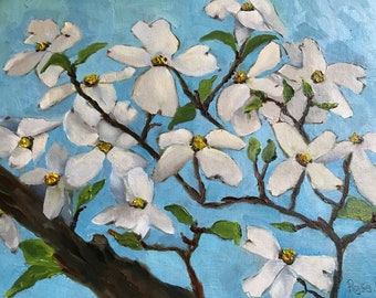 Dogwood, white flowers, Oil Painting, Canvas Painting, Spring Flowers, Midwest spring flower, Indiana tree