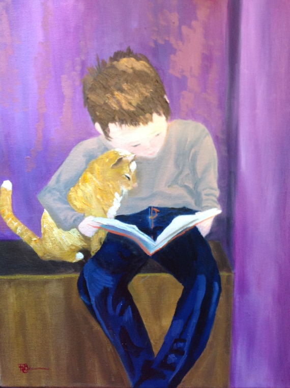 Boy and Cat art, Large Oil Painting, Cat art, Child painting, Animal Art