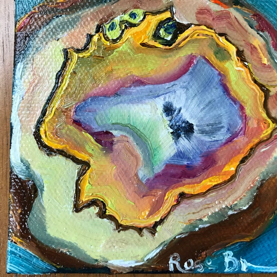 Fridge magnet, Burnt Orange Geode Painting, Miniature, Rocks, Tiny Painting, Birthday present, refrigerator magnet, Small Art