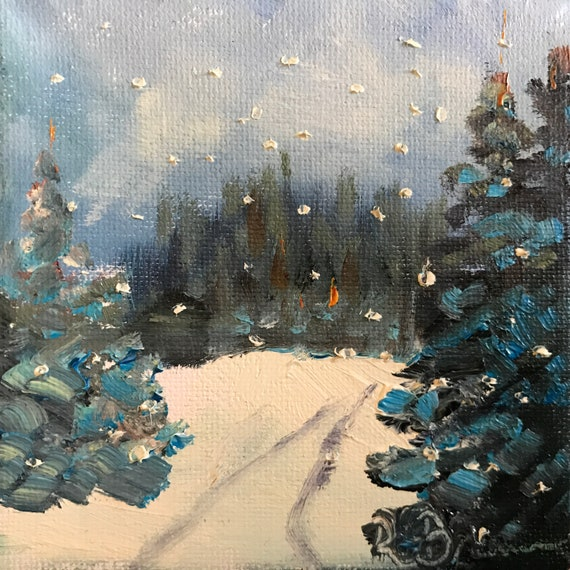 Winter scene, Snow painting, Small art, Landscape Painting, Miniatures
